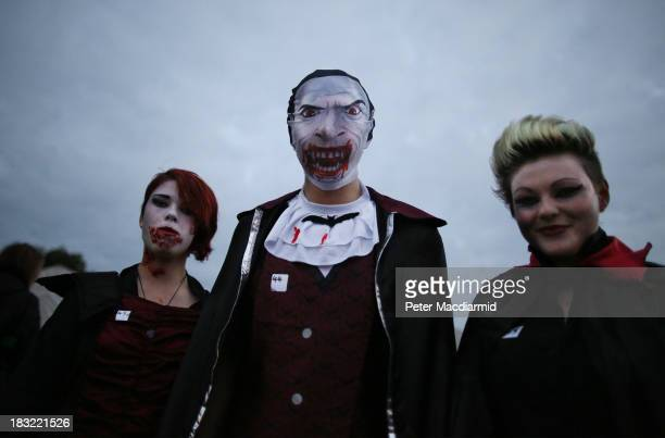 A trio of vampires arrive at the Shocktober Fest at Tulleys Farm on October 5 2013 near Crawley West Sussex Each October thousands attend the United...