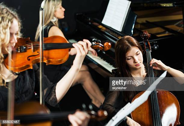 trio orchestra. - keyboard player stock photos and pictures