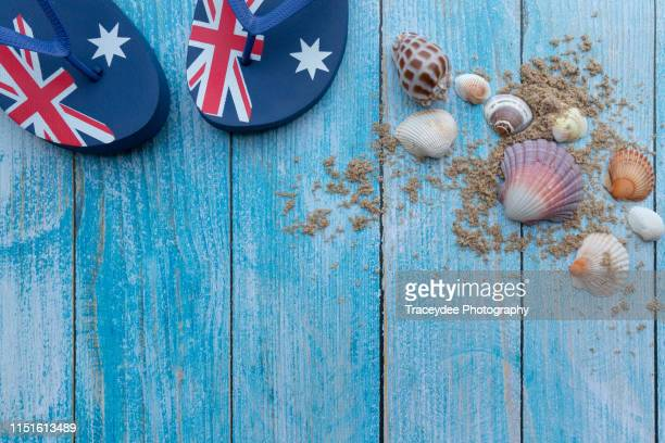 trip to an australian beach flat-lay - australia day stock pictures, royalty-free photos & images