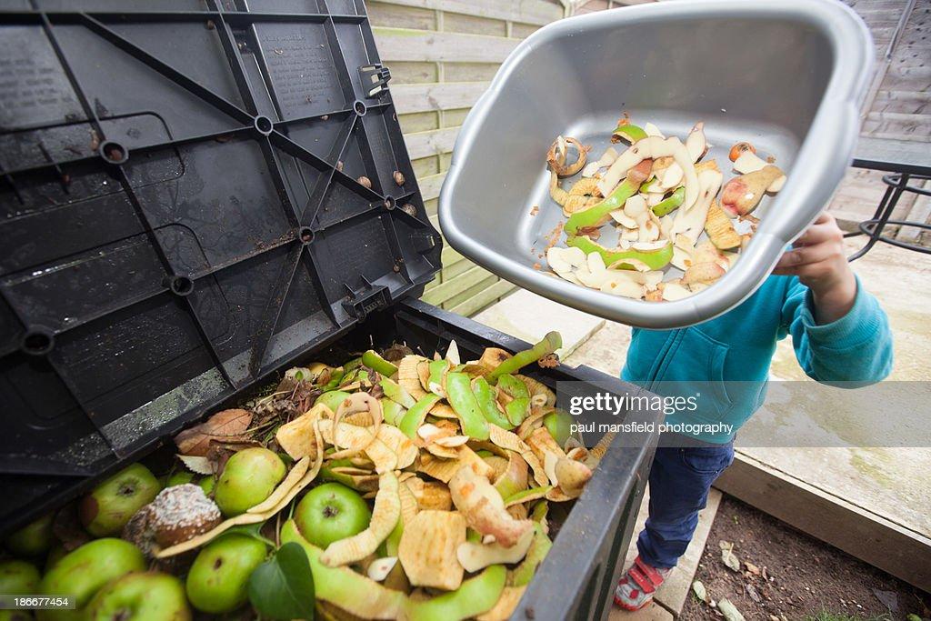 Trip to compost bin : Stock Photo