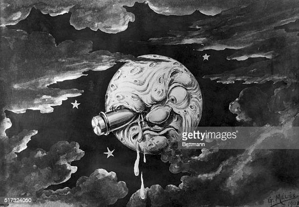A Trip to the Moon French movie by Georges Melies 1902 Space rocket hits moon in the eye BPA2# 4315
