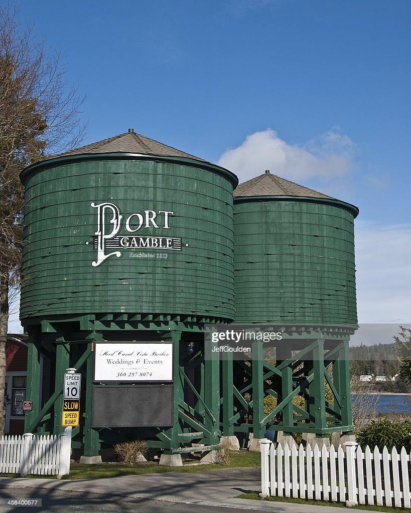Historic Water Towers Greet Vistors to Port Gamble : Stock Photo