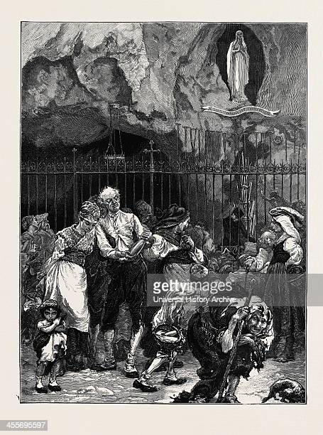 Pilgrims At The Grotto Of Lourdes