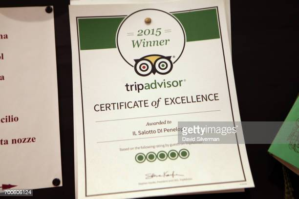 A tripadvisor Certificate of Excellence is seen at at Il Salotto di Penelope on March 30 2017 in Bologna Italy Il Salotto di Penelope is a private...