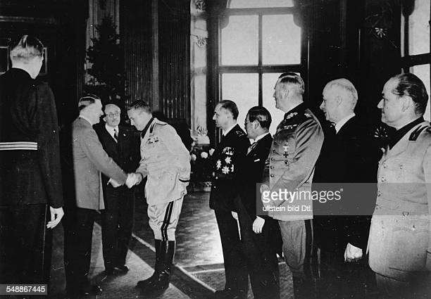 Tripartite Pact 1940 Reception at the Upper Belvedere in Vienna after the agreement was signed Adolf Hitler welcomes the Italian Foreign Minister...