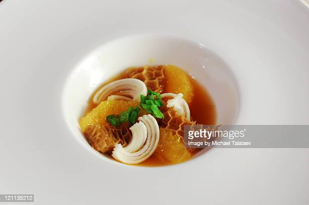 tripe with orange and leeks - tripe stock pictures, royalty-free photos & images