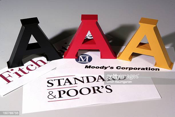 GERMANY Triple A in the colors black red gold on the lettering of the rating agency Moody's Standard Poor's and Fitch Icon image to assess the...