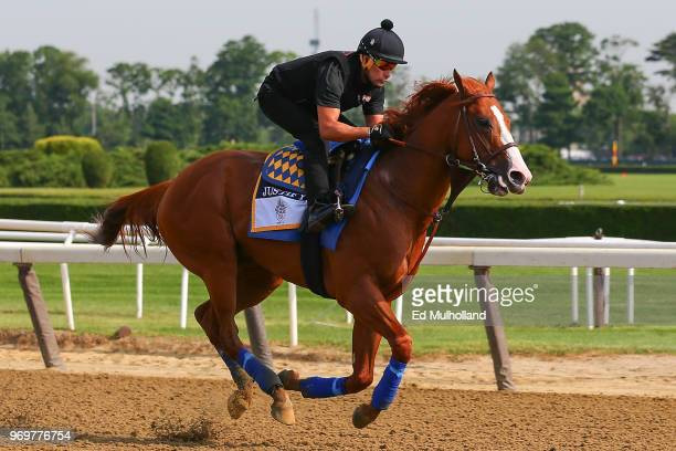 Triple Crown and Belmont Stakes contender Justify trains on the track during morning workouts prior to the 150th running of the Belmont Stakes at...