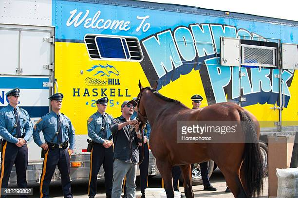 Triple Crown Winner American Pharoah arrives at Monmouth Park Race Track for Sunday's William Hill Haskell Invitational on July 29, 2015 in...