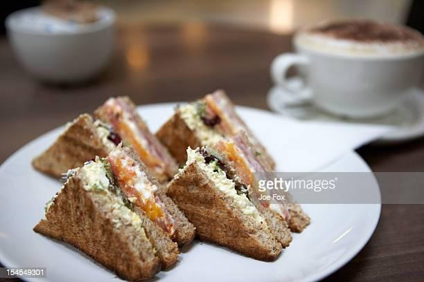 Triple decker toasted sandwich in a cafe in the UK