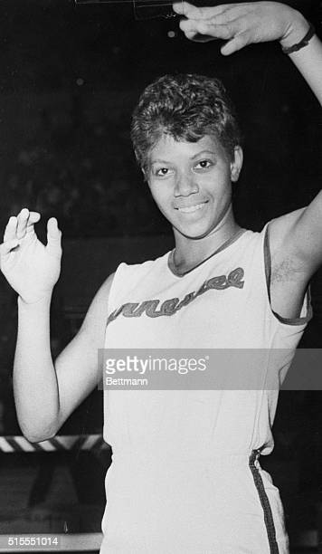 Triple Gold Medal winner of the 1960 Rome Olympics, Wilma Rudolph crosses the finish line way out in front to set a new American Women's indoor...