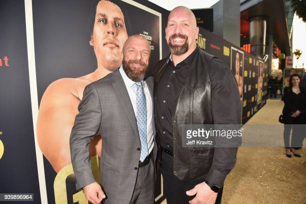 Triple H and Big Show attend the Los Angeles Premiere of Andre The Giant from HBO Documentaries on March 29 2018 in Los Angeles California