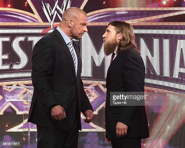Triple H and Daniel Bryan attend the WrestleMania 30 press conference at the Hard Rock Cafe New York on April 1, 2014 in New York City.