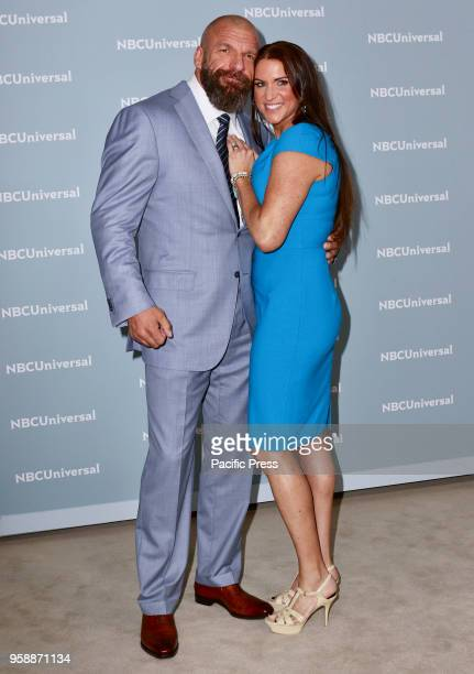 Triple H and Stephanie McMahon attends the 2018 NBCUniversal Upfront presentation at Rockefeller Center