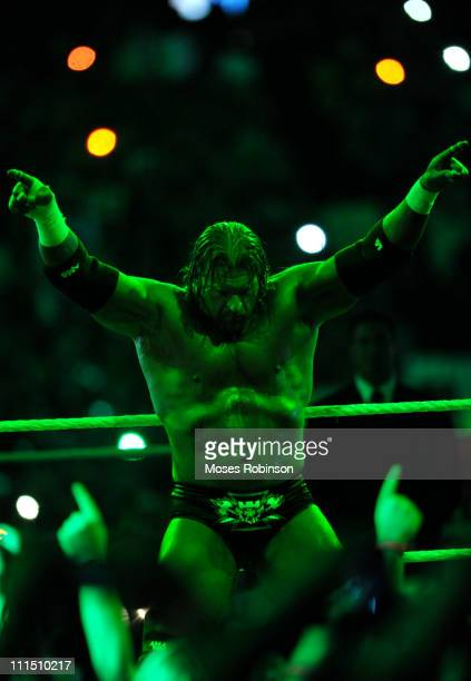 Triple H attends the 2011 WWE WrestleMania 27' at the Georgia World Congress Center on April 3 2011 in Atlanta Georgia