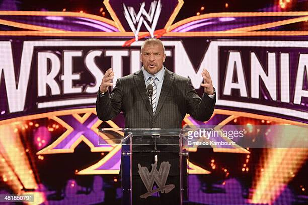 Triple H attends the WrestleMania 30 press conference at the Hard Rock Cafe New York on April 1, 2014 in New York City.