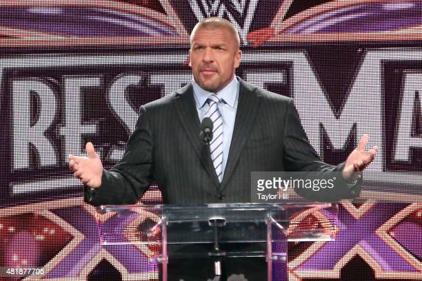 Triple H attends the WrestleMania 30 press conference at the Hard Rock Cafe New York on April 1 2014 in New York City