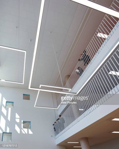 Triple height atrium towards ceiling Bobby Moore Academy London United Kingdom Architect Penoyre Prasad LLP 2018