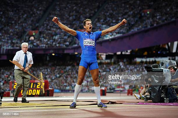 Triple Jump bronze medalist Fabrizio Donato of Italy celebrates as part of the 2012 London Olympic Summer Games at the Olympic Stadium, Olympic Park,...