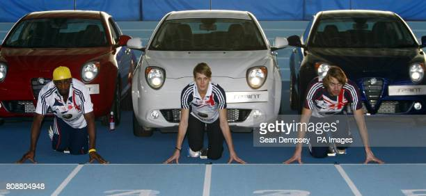 Triple Jumper Phillips Idowu Heptathlete Kelly Sotherton and Long Jumper Chris Tomlinson during the Alfa Romeo MiTo Sprint Special Edition Launch at...