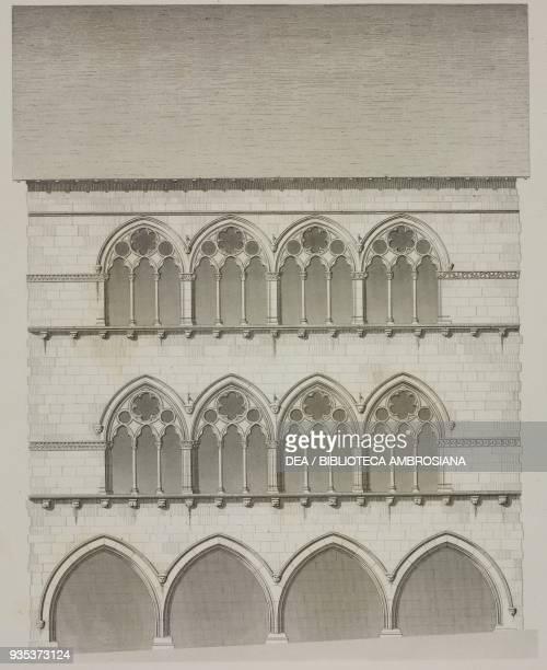 Triple lancet window of a house in Saint-Yrieix-la-Perche, Haute-Vienne, drawing by V Boulle, Jean-Joseph Sulpis , from L'Architecture du V au XVI...