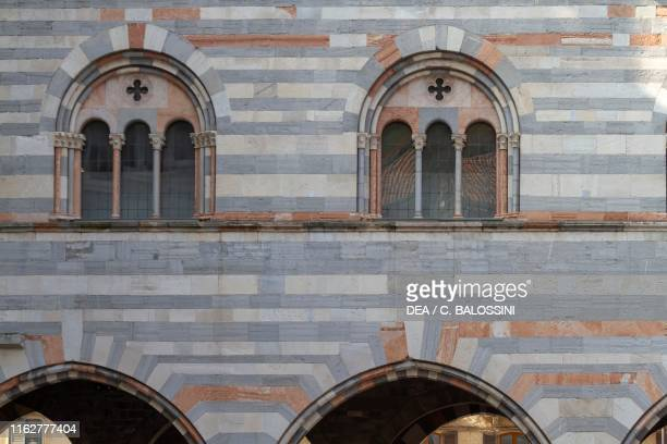 Triple lancet windows and arches, Broletto of Como, Romanesque style, Lombardy, Italy, 13th century.