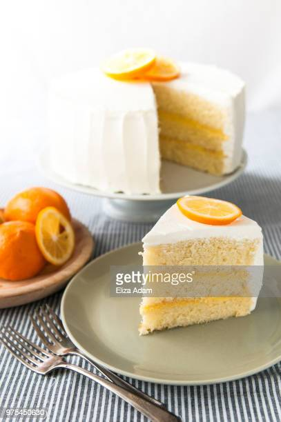 triple lemon chiffon cake with meyer lemon curd - シフォン ストックフォトと画像