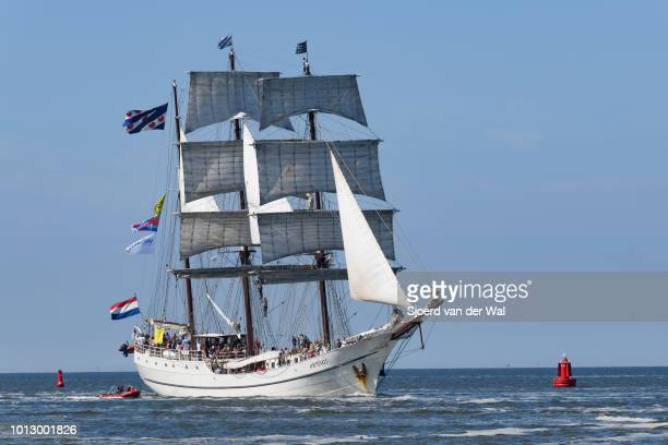Triple masted barque Artemis from The Netherlands entering the port of Harlingen during the finish of the 2018 Tall Ship Race on August 3, 2018 in...