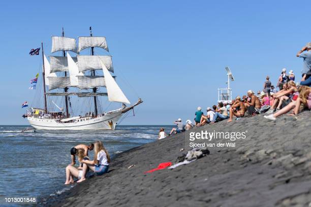 Triple masted barque Artemis from The Netherlands entering the port of Harlingen during the finish of the 2018 Tall Ship Race on August 3 2018 in...