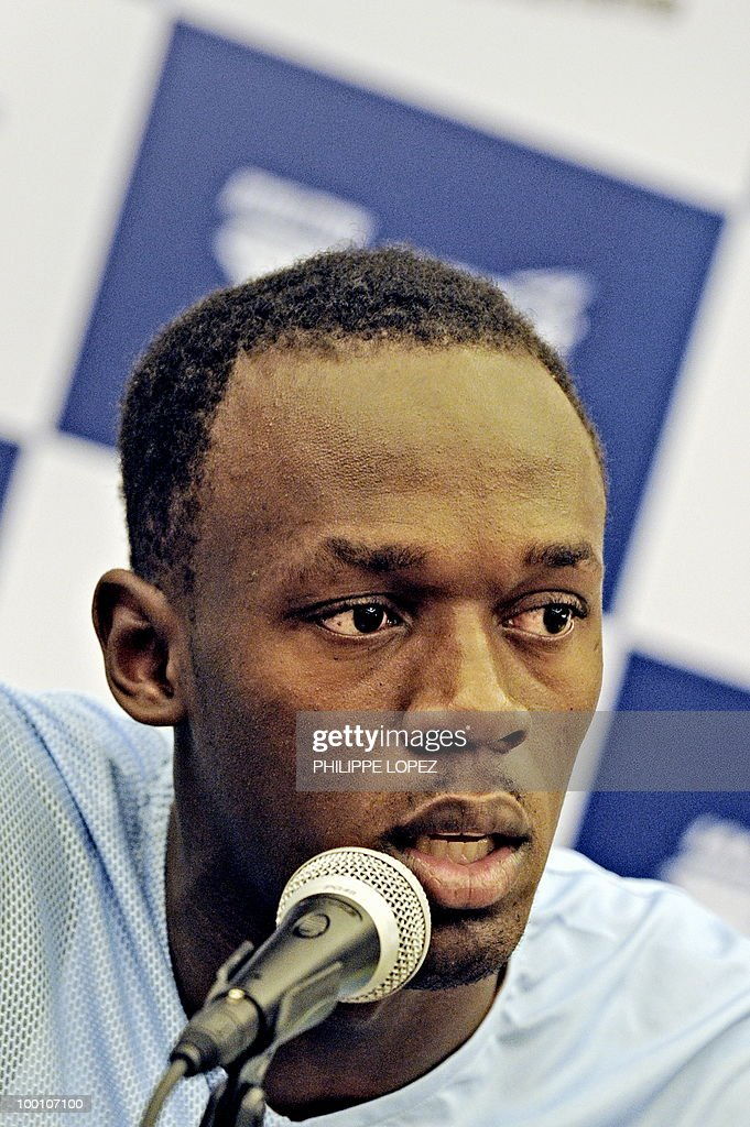 Triple-gold Olympic champion Jamaican sprinter Usain Bolt addresses a press conference ahead of the IAAF Diamond League in Shanghai on May 21, 2010. Bolt returns to China for the first time since his triple-gold Olympic feat to launch his 200-metre season on while Chinese hurdler Liu Xiang looks for redemption in his hometown.