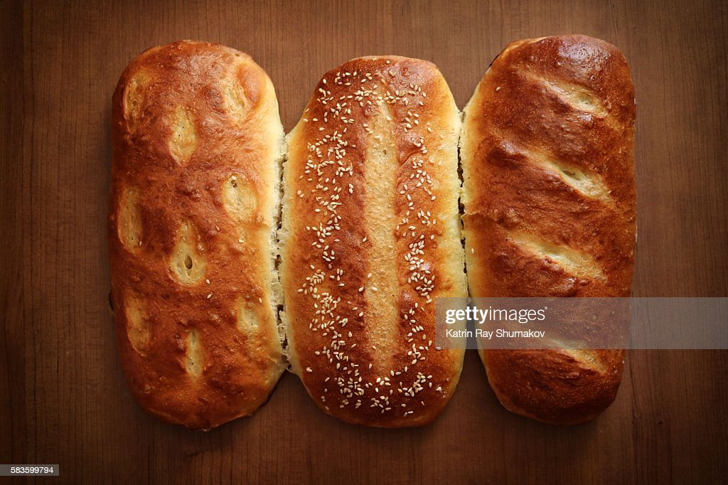 Triplets. Homemade Rustic French Breads : Stock Photo