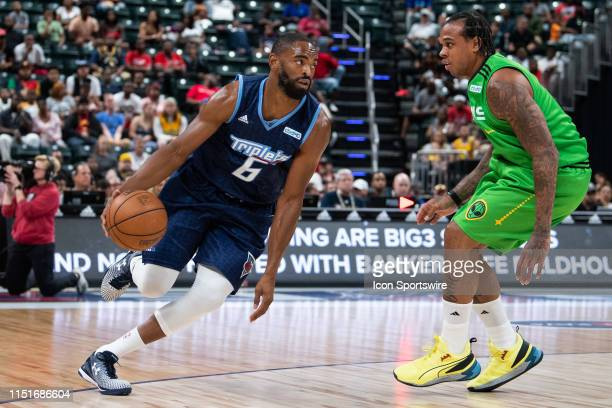 Triplets player Alan Anderson drives to the basket against Aliens player Shannon Brown during a Big3 basketball game on June 23, 2019 at Bankers Life...