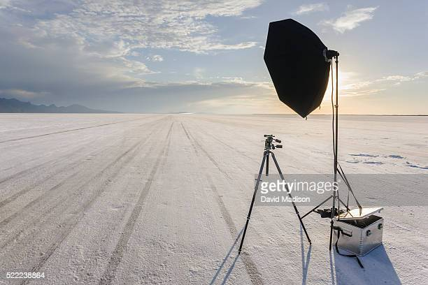 tripod, reflector and camera gear on salt flat - lake bed stock pictures, royalty-free photos & images
