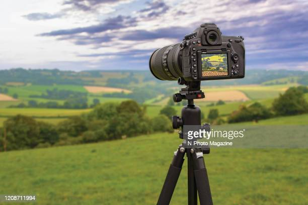 A tripodmounted Nikon D500 digital SLR camera taking pictures of the English countryside taken on July 29 2019
