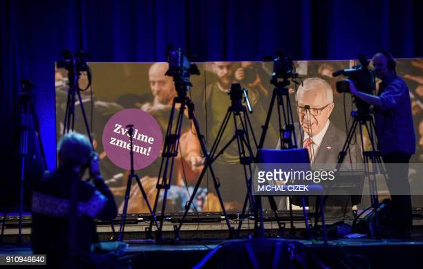 TV tripods are seen on stage at the headquarters of presidential canditate Jiri Drahos during the second round of the presidential elections in...