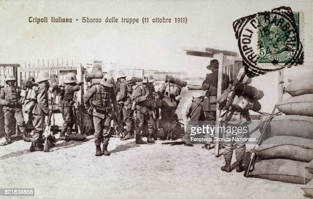 Tripoli the landing of Italian troops Postcard photocollograph Tripoli October 11 1911