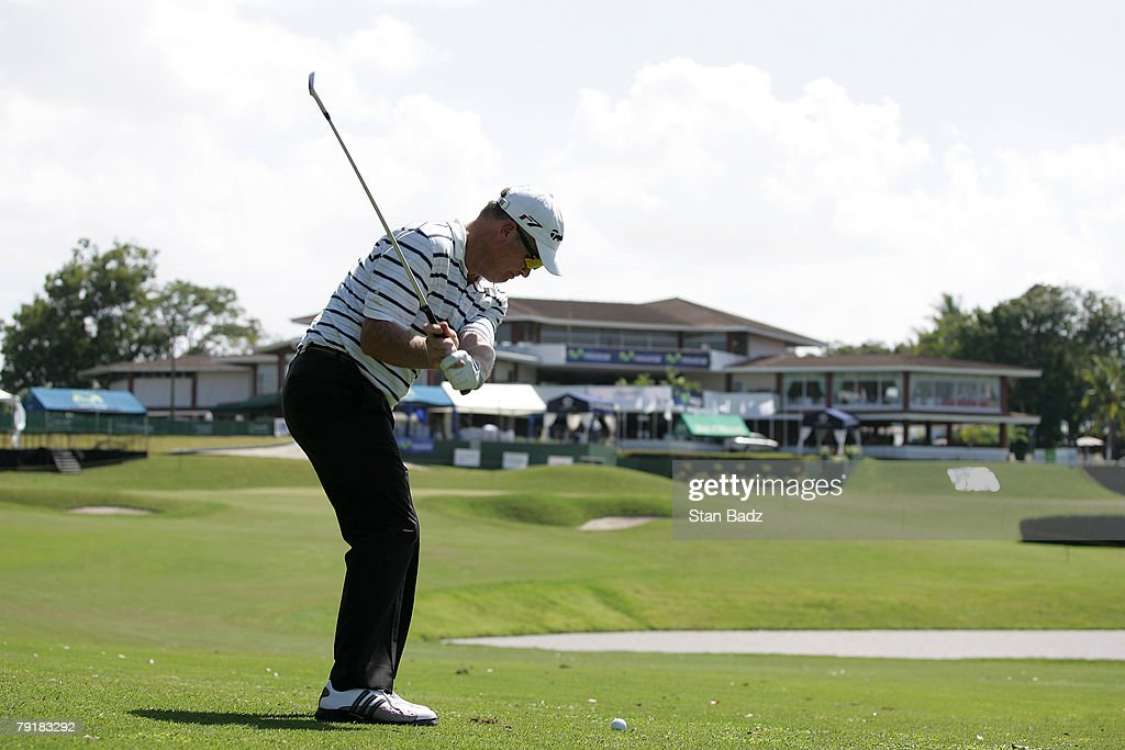 Tripp Isenhour hits his second shot to the 18th green during the Pro-Am of the Movistar Panama Championship held on January 23, 2008 at Club de Golf de Panama in Panama City, Republica De Panama.