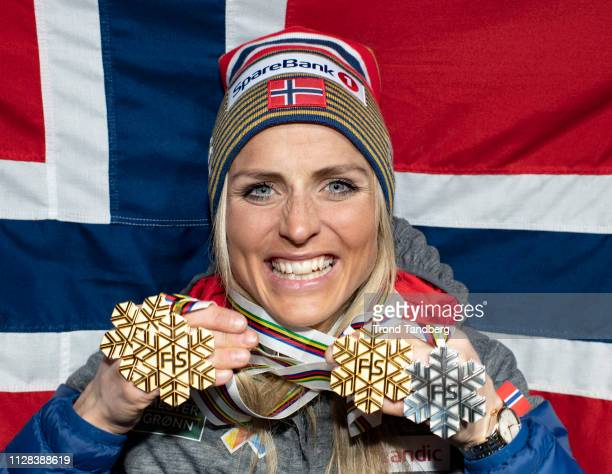 Trippel Gold and Silver Winner Therese Johaug of Norway during Medal Ceremony at Medal Plaza after FIS Nordic World Ski Championship Cross Country...