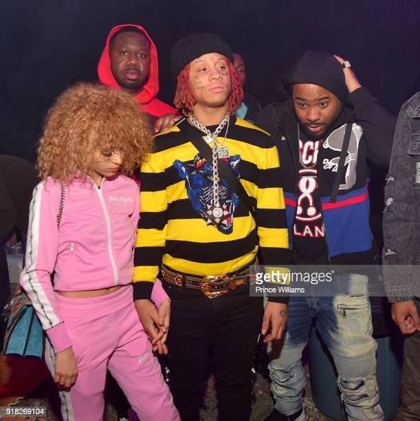 Trippie Redd and Pierre 'Pee' Thomas attend Trap Du Soleil Celebrating YFN Lucci on February 13 2018 in Atlanta Georgia