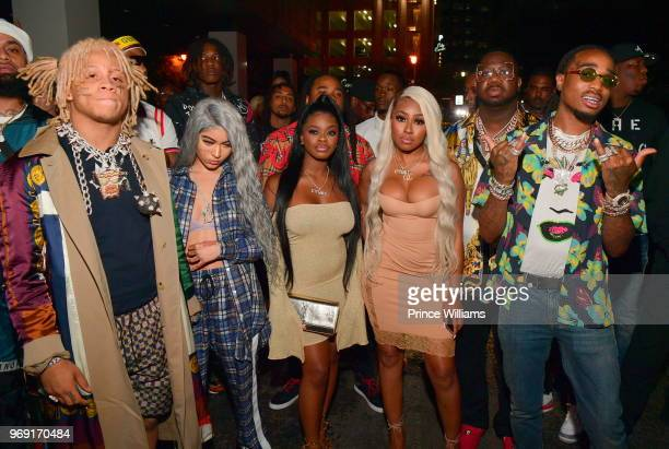 Trippie Redd City Girls Pierre 'Pee' Thomas and Quavo attend a Birthday Celebration for Pierre Thomas at Gold Room on June 7 2018 in Atlanta Georgia