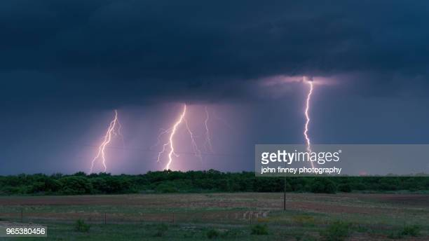 tripple lightning in northwestern texas. usa - country texas lightning stock pictures, royalty-free photos & images