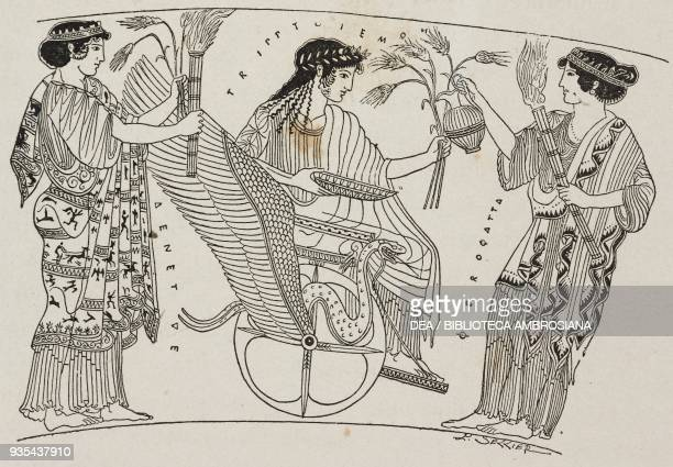 Triptolemus seated on a winged chariot, in front of him Proserpine, vase painting, illustration from Histoire des grecs, volume 1, Formation du...