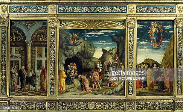 Triptych from the Uffizi Gallery with the Ascension the Adoration of the Magi and the Circumcision 14631464 by Andrea Mantegna empera on wood 86x1615...