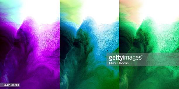 Triptych of Dyes Exploding in Water