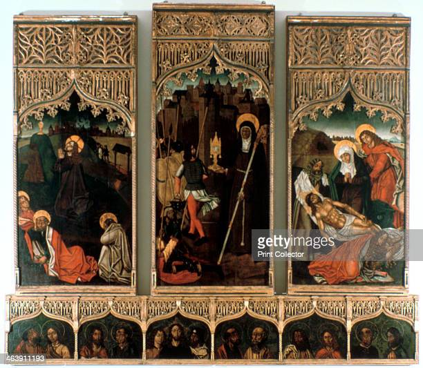 Triptych of Santa Clara 1486 The panels depict Christ praying on the Mount of Olives St Clare and the Miracle of the Safekeeping and the Lamentation...