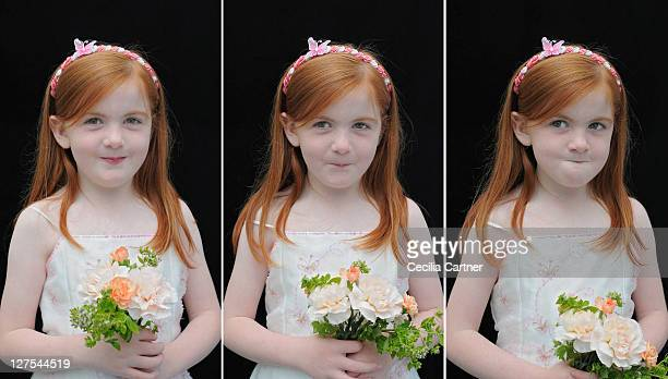 Triptych of smiling girl holding flowers