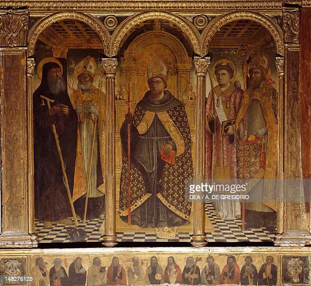 Triptych of St Louis Enthroned with Saints early 16th century by Giovanni di Niccolo Barbagelata panel detail Church of San Giorgio Moneglia Italy
