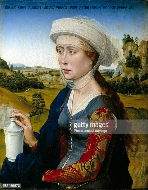 'Representation of St Mary Magdalene' Right panel by Rogier Van der Weyden 15th century Louvre Museum Paris