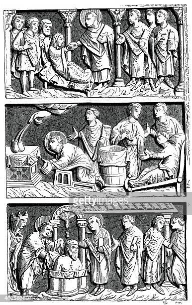 A triptych of the healing work of St Remy Bishop of Reims 11th century The first compartment represents St Remy healing a paralytic the second St...