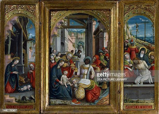 Triptych of the Nativity the Adoration of the Magi and Jesus Christ's tomb by Defendente Ferrari Turin Galleria Sabauda